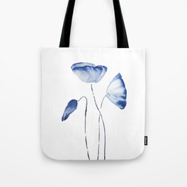 indigo poppy watercolor Tote Bag