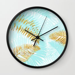 Aloha- Tropical Palm Leaves and Gold Metal Foil Leaf Garden Wall Clock