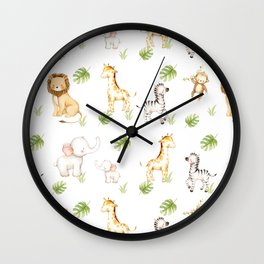 Safari Animals Baby Nursery Kids Wall Clock