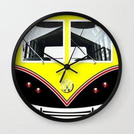 Yellow Art Cute minibus Wall Clock