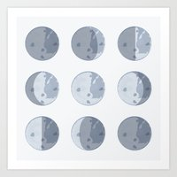 moon phases Art Prints featuring Moon Phases by Katie Boland