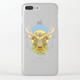 Deer in Flowers Clear iPhone Case