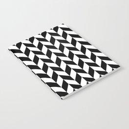 Black and White Herringbone Pattern Notebook