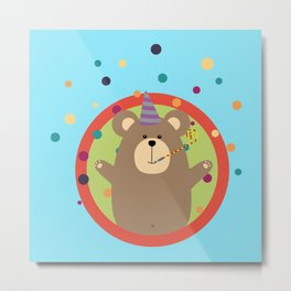 Party Bear with Spots in cirlce Metal Print
