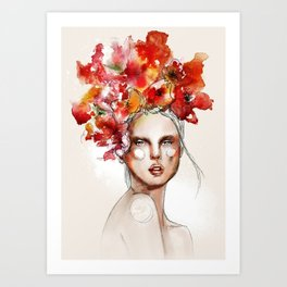 Girl with the #flowers by Anya Dee Art Print