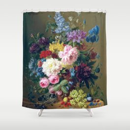 Arnoldus Bloemers - Flowers with Fruit and a Bird's Nest on a Marble Ledge Shower Curtain