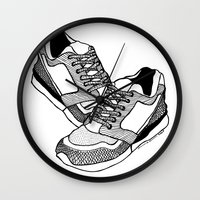 sneakers Wall Clocks featuring Sneakers by Addison Karl
