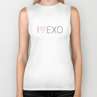 exo Biker Tanks featuring I LOVE EXO by 1004.store