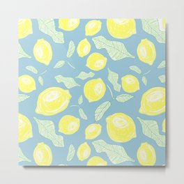Freshy lemon fruit beautiful pattern on blue backgroung Metal Print