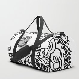 Love and Doodles Black Duffle Bag