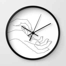 Hands line drawing illustration - Demi Wall Clock