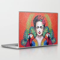 frida Laptop & iPad Skins featuring Frida by alesaenzart