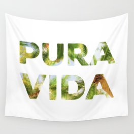Pura Vida Costa Rica Palm Trees Wall Tapestry