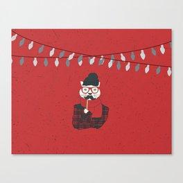 Festive Hipster Cat Canvas Print