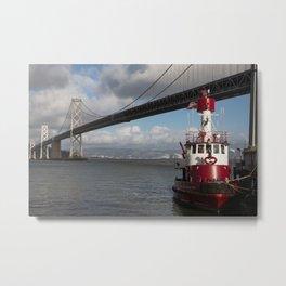 Bay Bridge Fire Boat  Metal Print