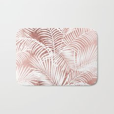 Modern elegant white faux rose gold palm tree Bath Mat