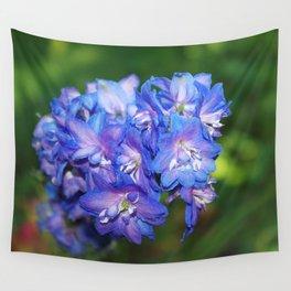 Sky blue Delphinium Flowers Wall Tapestry