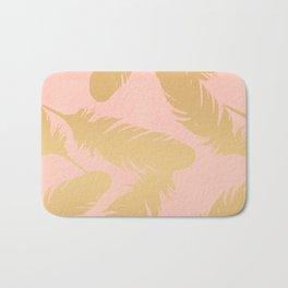 Boho Feather Pink Gold Bath Mat