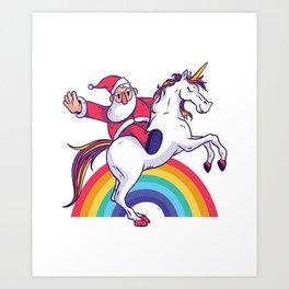 Santa Unicorn Art Print