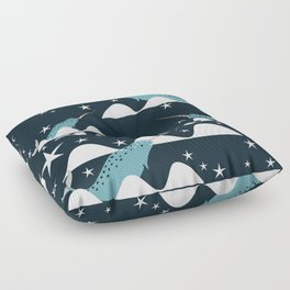 narwhal in ocean blue Floor Pillow