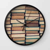 bookworm Wall Clocks featuring Bookworm by Laura Ruth