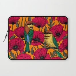 Bee eaters and poppies on orange Laptop Sleeve