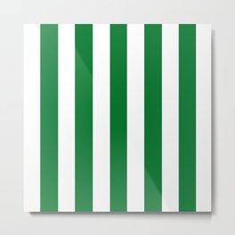 La Salle green - solid color - white vertical lines pattern Metal Print