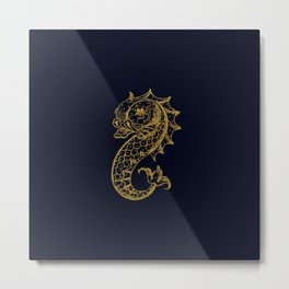 The gold seahorse- Navy blue maritime print with gold ornament Metal Print