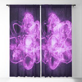 Atom symbol. Abstract night sky background Blackout Curtain