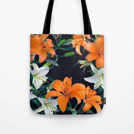 Tropical Lilies on Black Tote Bag
