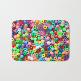 Rainbow beads! Decora fun! Bath Mat