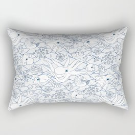 Cephalopods: White and Blue Rectangular Pillow