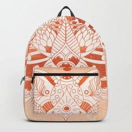 Happiness Mandala Metallic Rose Gold Beige Backpack