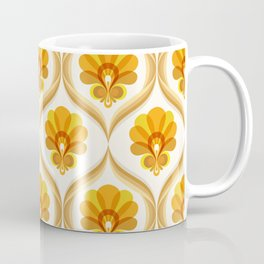 Ivory, Orange, Yellow and Brown Floral Retro Vintage Pattern Coffee Mug