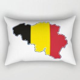 Belgium Map with Belgian Flag Rectangular Pillow