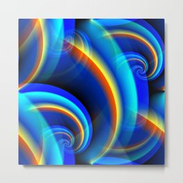 Waves in the Sky (blue-orange-yellow) Metal Print