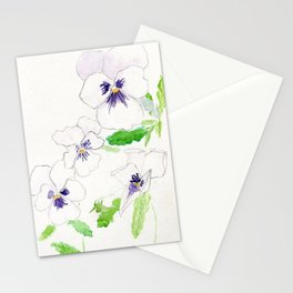 Snow Pansies Stationery Cards