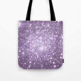 Lilac Galaxy Sparkle Stars Tote Bag