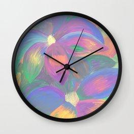 Neon Flower Pattern Wall Clock