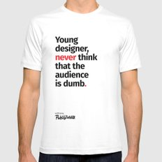 Young Designer — Advice #3 White Mens Fitted Tee MEDIUM