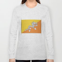 Flag of Bhutan.  The slit in the paper with shadows. Long Sleeve T-shirt