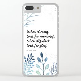 Oscar Wilde Quote - When it rains look for rainbows Clear iPhone Case