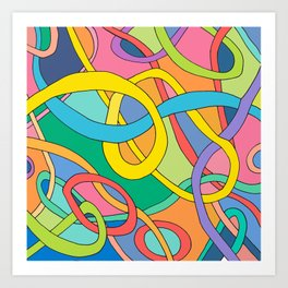 color curved lines Art Print