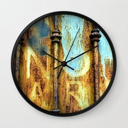 rusty metal gate Wall Clock