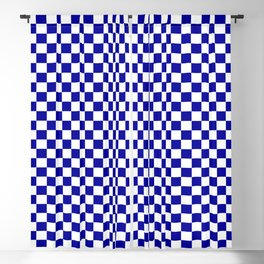 Marine Blue and White Check - more colors Blackout Curtain