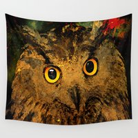 owls Wall Tapestries featuring Owls by Ganech joe