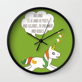 St. Patrick's Day Unicorn 3 Wall Clock