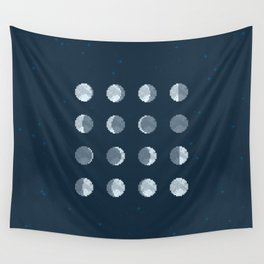 8bit Moon Phases Wall Tapestry