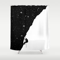 climbing Shower Curtains featuring night climbing by Balazs Solti
