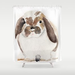 Bunny Watercolor (Flop Eared Bunny) Shower Curtain